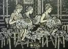 Смирнов В. В. Вологодские кружевницы. 1985. Бумага, линогравюра. 53х73. Г-723, КП-1077