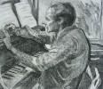 Ильющенко В. И. Портрет композитора Моисея Вайнберга. 1977. Бумага, офорт. 43х49. Г-500, КП-854