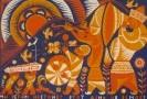 Г-574 КП-928 Магомедов М.Г.  Настанет день. 1971. Бумага, цветная линогравюра. 38,5х56,5