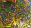 Молчанова Г.П. Костер. 1984. Бумага, цветная линогравюра. 47х52. КП-1030, Г-676