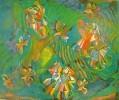 Молчанова Г.П. Сенокос. 1980. Бумага, цветная линогравюра. 47х57. КП-1027, Г-672