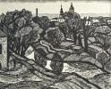 Г-449 КП-803 Бородин А. В.  Река Дуругузна в городе Козельске. 1979. Бумага, линогравюра. 51х63