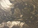 Г-45 КП-137 Фролов В. А.  После боя. Из серии Памяти комиссара Петра Смородина. 1977.  Бумага, меццо-тинто. 41,5х54,5