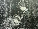 Смирнов В.В. Кружевница за работой. Из серии Мастера народного искусства. 1985. Бумага, линогравюра, акварель. 54,5х72. КП-1080, Г-726