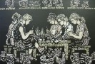 Смирнов В.В. Мастера хохломской росписи. Из серии Мастера народного искусства. 1985. Бумага, линогравюра, акварель. 51,5х75. КП-1078, Г-724