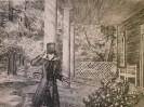Г-480 КП-834 Данилов А. В.  В Тригорское. Из серии Пушкин в Михайловском. 1985. Бумага, цветная лиитография. 47х61,5