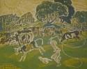 Г-143 КП-294 Воробьева И. Н.  Пастушонок.1969. Бумага, цветная гравюра на картоне. 52,7х63,8