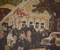 Г-144 КП-295 Воробьева И. Н.  В доме свадьба. 1969. Бумага, цветная гравюра на картоне. 51,8х61,6