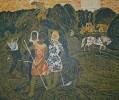 Г-145 КП-296 Воробьева И. Н.  Страда сенокосная. 1969. Бумага, цветная гравюра на картоне. 52,5х62,7