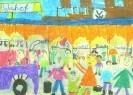 Марк - Паскаль Крюгер, 10 лет. Вокзал Вольфсбурга. Бумага, масляная пастель. 30,4х42,6. Г-4137, КП-5606