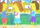 Кайзер Ида, 10 лет. Мы прыгаем на скакалке. 2001. Бумага, масляная пастель. Г-4116, КП-5585