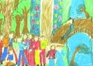 Кристина Ретулаф, 10 лет. На мосту. Бумага, масляная пастель. 30х43. Г-4128, КП-5597
